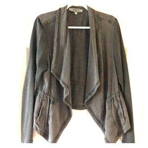 Women's gray accent jacket.